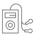 mp3 player thin line icon audio and sound music vector image vector image