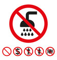 no shower sign on white background vector image