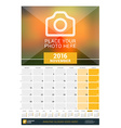 November 2016 Wall Monthly Calendar for 2016 Year vector image