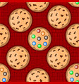 pattern with cookies on red knitted background vector image vector image