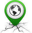 Planet green icon in crack vector image vector image