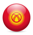 Round glossy icon of kyrgyzstan vector image