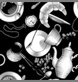 seamless pattern background with coffee dishes vector image