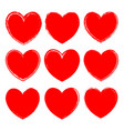set of ink rough red hearts vector image vector image