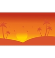 Silhouette of palm and bird at sunset vector image