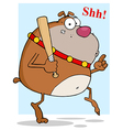 Sneaky Brown Bulldog Tip Toeing With Baseball Bat vector image