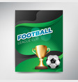 soccer league cup poster on green background with vector image