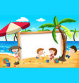 summer beach kids banner vector image