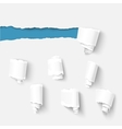 Torn paper with a roll collection vector image vector image