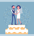 wedding rich iced cake with bride and groom on top vector image