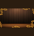 wooden brown wall with garland background for vector image vector image