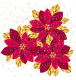 xmas luxury gold poinsettia decorative flowers vector image