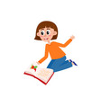 young woman kindergarten teacher reading a book vector image