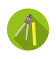 School compass and ruler flat style icon on round vector image