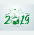 2019 new year in creative drawing environmental vector image vector image