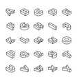 3d alphabet letters line set vector image vector image