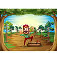 A cheerful lumberjack in the middle of the trees vector image vector image