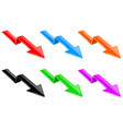 arrows colored down financinal 3d signs vector image vector image