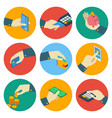 atm isometric colorful icons with hand vector image