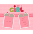 baby girl arrival card with photo frame