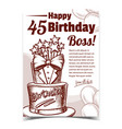 birthday cake decorated in suit form banner vector image vector image