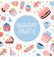 birthday party banner template with sweets and vector image vector image