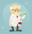 Cartoon old funny scientist vector image