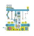 Conveyor robotic system with manipulators vector image vector image