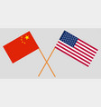 crossed united states of america and china flags vector image