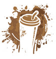 disposable paper coffee cup with stains and spots vector image