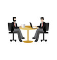 european businessmen coffee meeting in office vector image