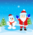 Festive santa and person molded from snow vector image vector image