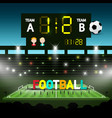 football team match on soccer stadium evening vector image vector image