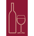 glass wine and bottle vector image vector image