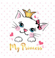 hand drawn cute cat isolated vector image