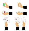 Hand with playing cards and chips vector image