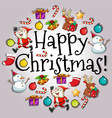 Happy Christmas card with Santa and objects vector image