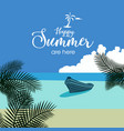 happy summer beach flat background vector image