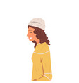 hipster girl in yellow sweater and hat side view vector image