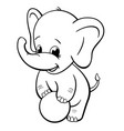 infant elephant playing with ball coloring book vector image vector image