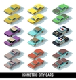 Isometric city cars icons in front and rear vector image