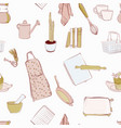 kichen equipment doodle seamless pattern retro vector image vector image