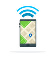 location signal on phone flat material design vector image
