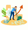 man vacuuming money in minimalist style cartoon vector image