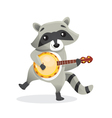Musical animals Racoon Banjo vector image vector image