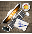 notebook and computer with mobile phone and lemon vector image vector image