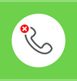outline handset flat icon with prohibition sign vector image vector image