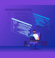 programmer coding young man freelancer working on vector image