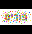 purim text with colorful confetti background vector image vector image