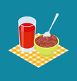 red rice porridge and fruit juice breakfast vector image